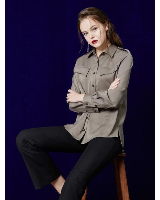 W Concept | Blue Basic Silky Blouse | Lyst