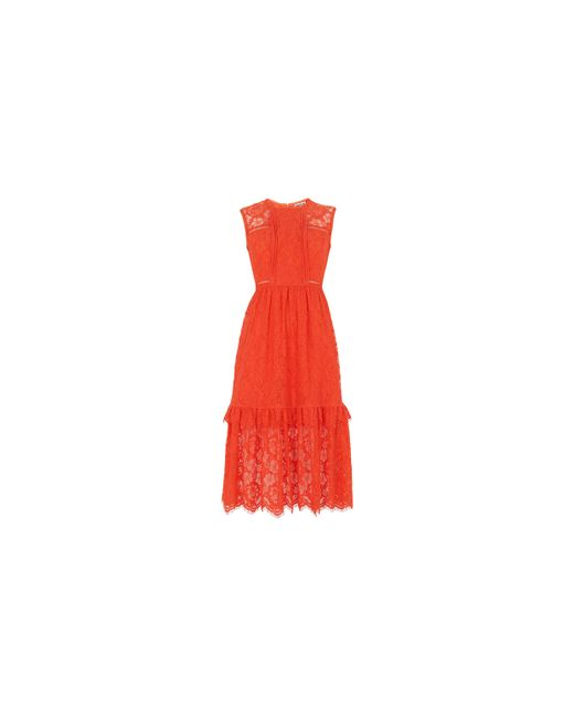 Whistles | Red Rosie Lace Panel Dress | Lyst
