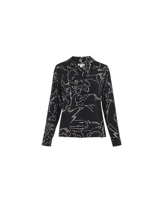 Whistles - Black Athena Print Silk Pyjama Shirt - Lyst