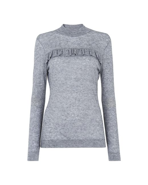 Whistles - Gray Frill Detail Wool Mix Top - Lyst
