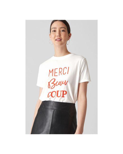 Whistles - White Merci Beau Coup Logo Tshirt - Lyst