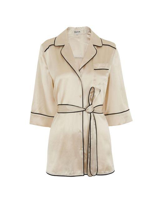 Whistles - White Sylvia Pyjama Silk Shirt - Lyst