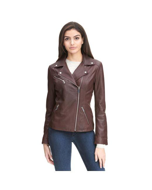 Wilsons Leather - Brown Web Buster Asymmetrical Zip Leather Jacket W/ Metallic Details - Lyst