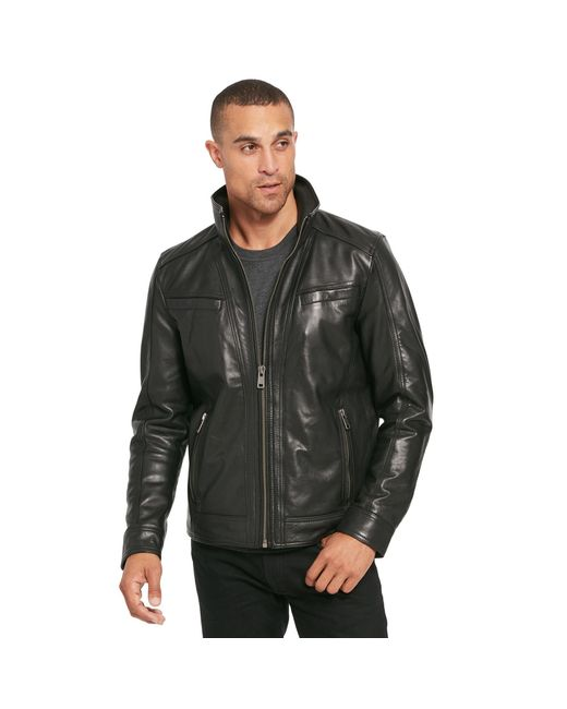 Wilsons Leather - Black Vintage Genuine Leather Jacket W/ Seam Detail for Men - Lyst