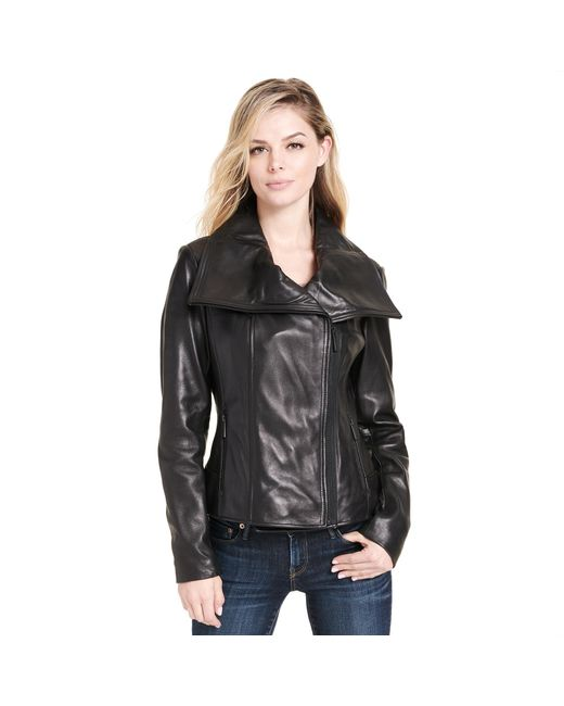 Wilsons Leather - Black Web Buster Drape Front Asymmetrical Leather Jacket - Lyst