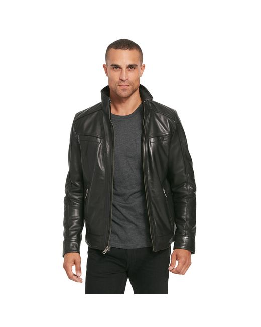 Wilsons Leather - Black Vintage Leather Jacket With Seam Detail for Men - Lyst