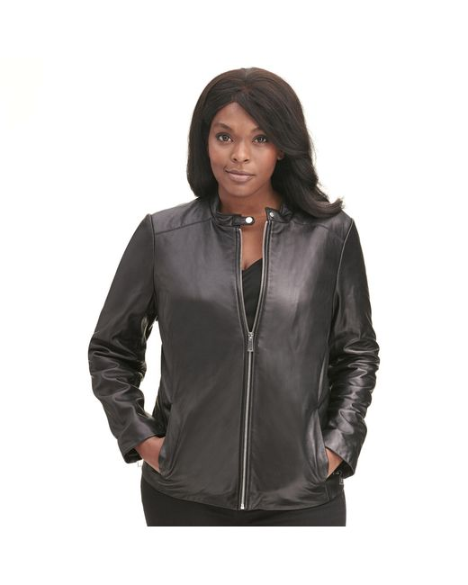 Wilsons Leather - Black Plus Size Designer Brand Classic Scuba Leather Jacket - Lyst