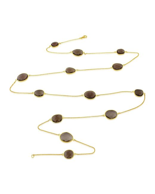 Auree Jewellery - Metallic Jaipur Long Gold & Smokey Quartz Long Necklace - Lyst