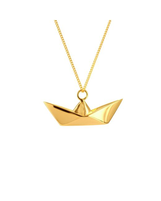 Origami Jewellery - Metallic Boat Necklace Gold - Lyst