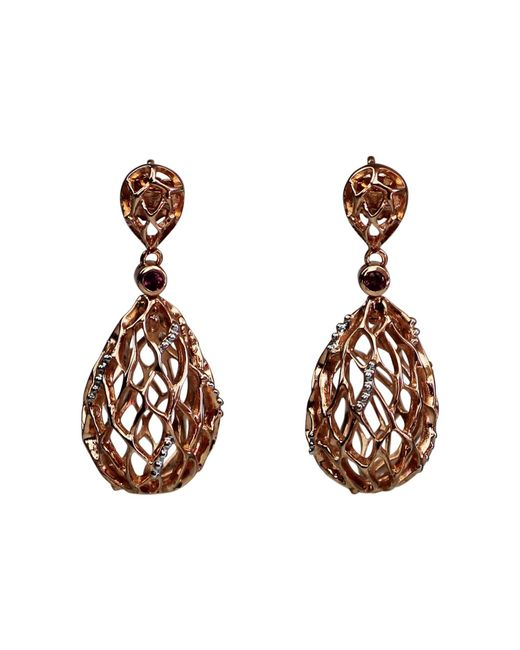 Bellus Domina - Metallic Rose Gold & Rhodolite Hive Earrings - Lyst