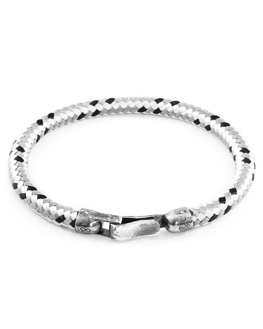 Anchor & Crew - Metallic Grey Dash Paignton Silver & Rope Bracelet for Men - Lyst