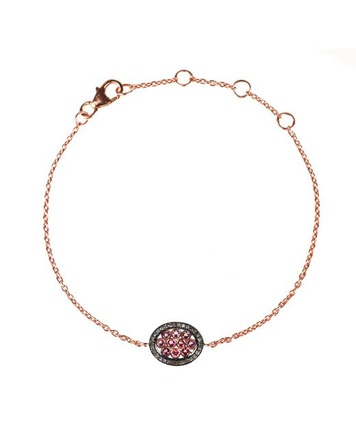 Latelita London | Diamond Oval Pink Tourmaline Bracelet Rosegold | Lyst