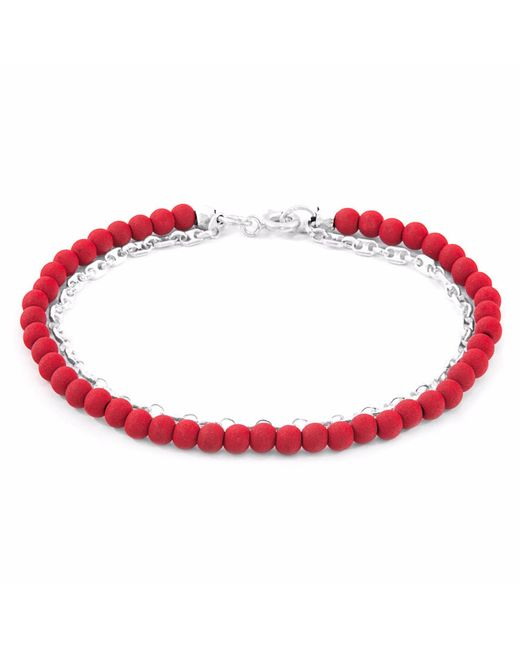 Anchor & Crew | Multicolor Luxe Red Lava Serenity Silver & Stone Bracelet | Lyst