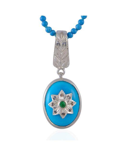 Emma Chapman Jewels - Blue Byzantine Star Turquoise Diamond & Tsavorite Pendant - Lyst