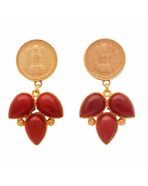 Carousel Jewels | Red Onyx Coin Earrings | Lyst