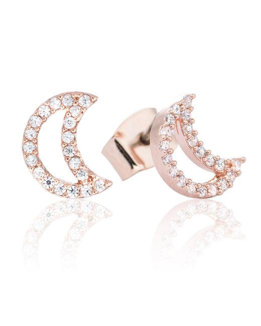 Astrid & Miyu - Metallic Tricks Moon Stud Earrings Rose Gold - Lyst