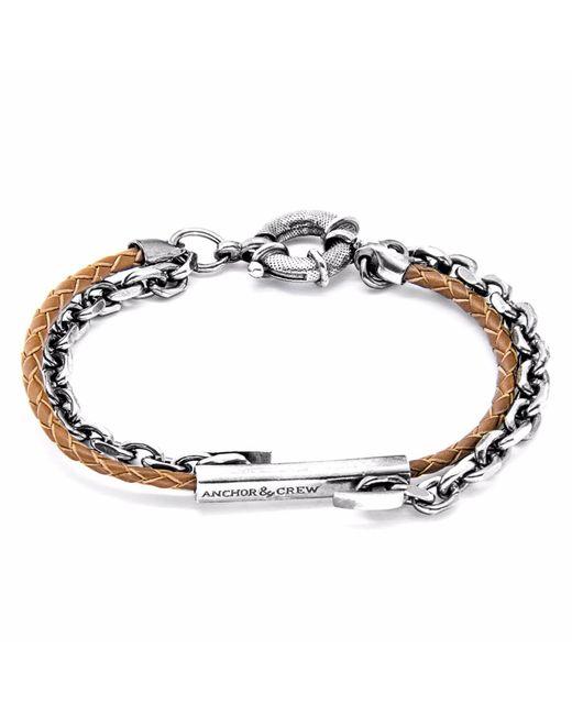 Anchor & Crew   Light Brown Belfast Silver & Leather Bracelet for Men   Lyst
