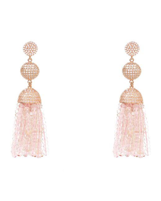 Latelita London | Pink Tassel Ball Earring Rose Quartz Rosegold | Lyst