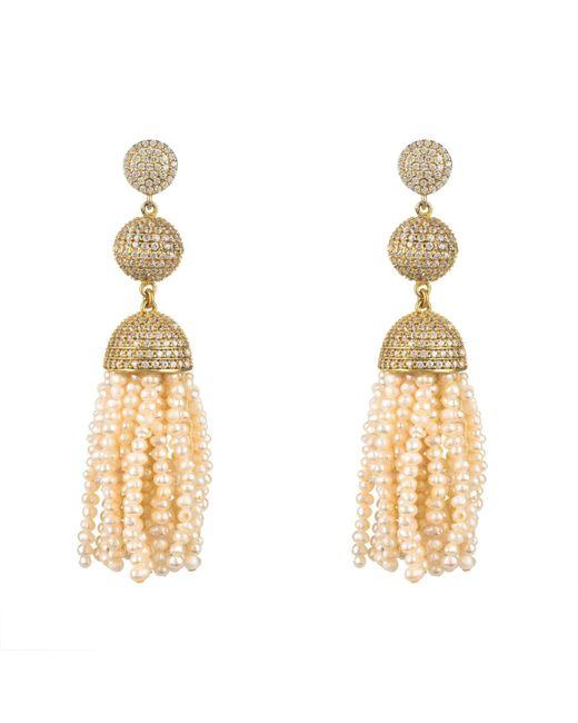 Latelita London   Metallic Tassel Ball Earring Fresh Water Pearls Gold   Lyst