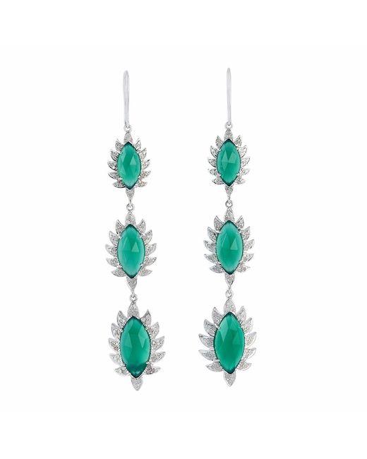Meghna Jewels   Triple Drop Claw Earrings Green Chalcedony & Diamonds   Lyst