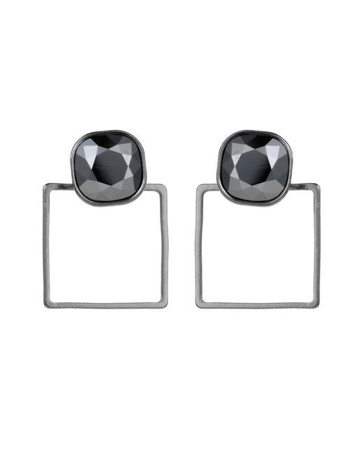 Nadia Minkoff   Metallic Square Frame Earrings Chrome   Lyst