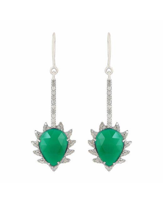Meghna Jewels | Claw Linear Earrings Green Chalcedony & Diamonds | Lyst