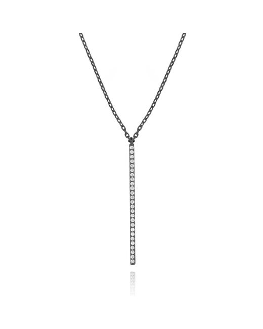Astrid & Miyu | Black Hold On Big Bar Necklace In Gunmetal | Lyst