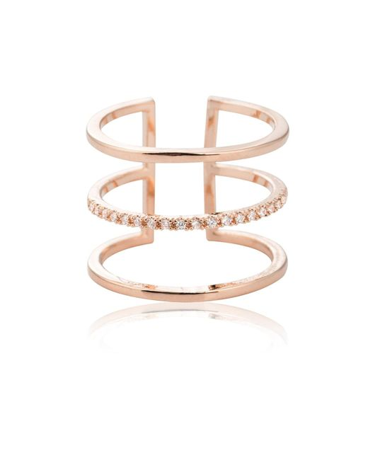 Astrid & Miyu   Metallic Triple Bewitched Ring In Rose Gold   Lyst