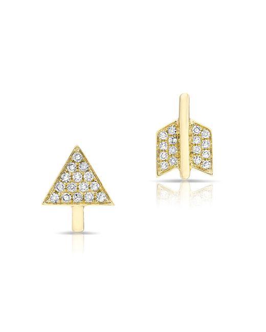 Anne Sisteron | Metallic Yellow Gold Diamond Split Arrow Stud Earrings | Lyst