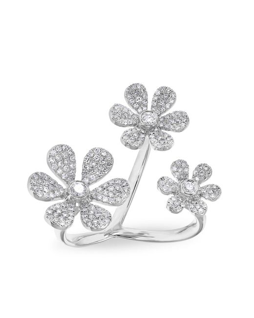 Anne Sisteron | White Gold Diamond Floating Triple Daisy Flower Ring | Lyst