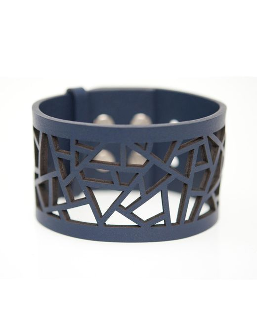 Ona Chan | Blue Leather Lattice Cuff Navy | Lyst