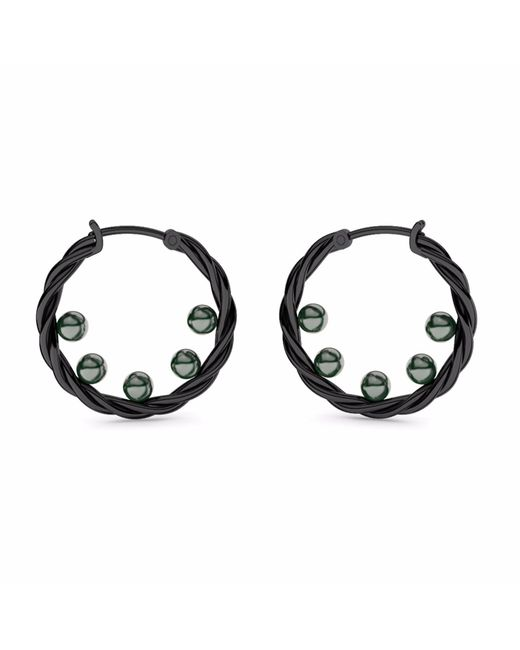 MARCELLO RICCIO | Pearls Black Gold Plated Hoop Earrings | Lyst