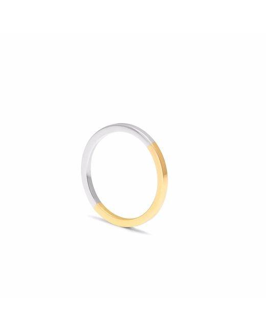 Myia Bonner - Metallic 9ct Yellow Gold & Silver Square Stacking Ring - Lyst