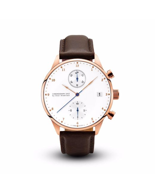 About Vintage | 1815 Chronograph Rose Gold Dark Brown Strap for Men | Lyst