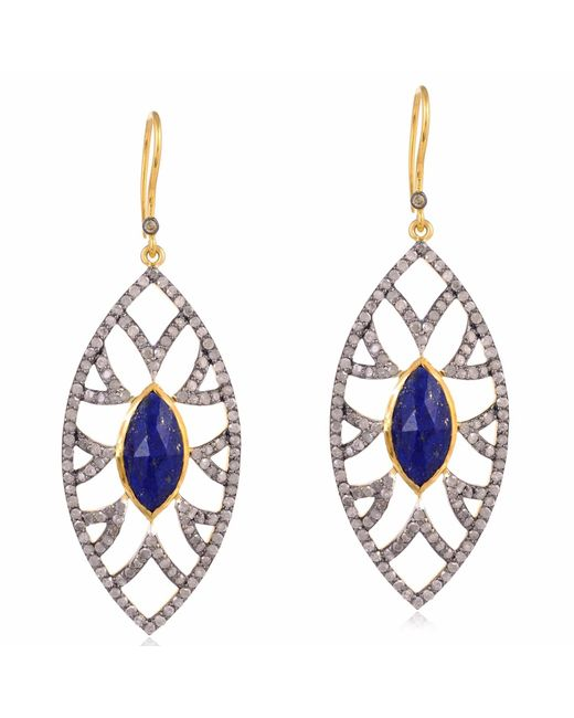 Meghna Jewels | Metallic Bora Bora Earrings Lapis & Diamonds | Lyst