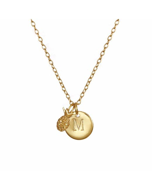Lee Renee | Metallic Pineapple & Initial Necklace | Lyst