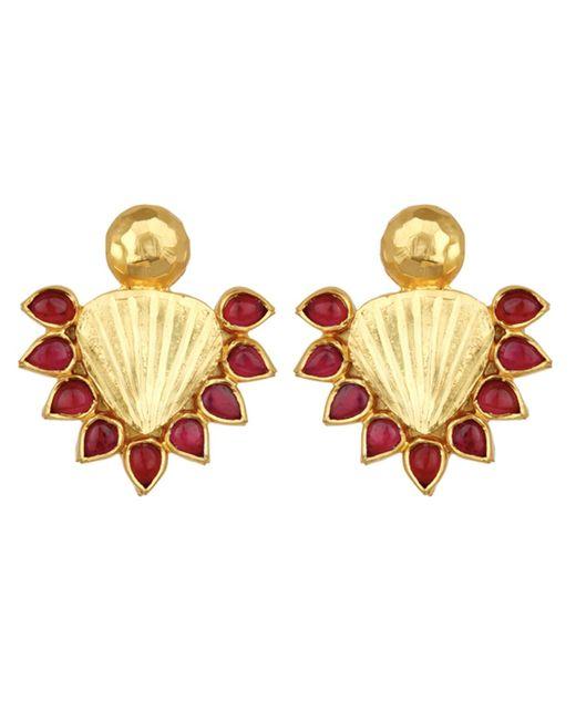 Carousel Jewels   Metallic Red & Gold Statement Earrings   Lyst