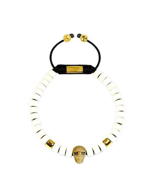 CLARISTE JEWELRY | Black Men's Ceramic Bead Bracelet White With Gold Skull for Men | Lyst