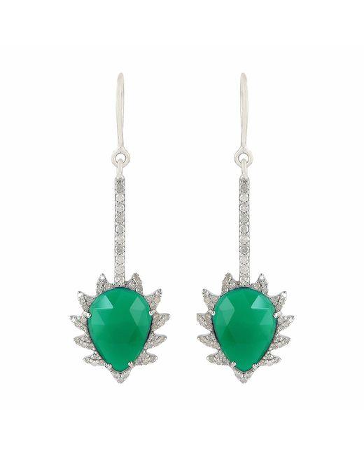 Meghna Jewels   Claw Linear Earrings Green Chalcedony & Diamonds   Lyst