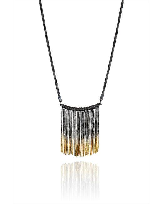 Cara Tonkin | Black Vesper Bar Necklace Oxidised Silver & Gold | Lyst