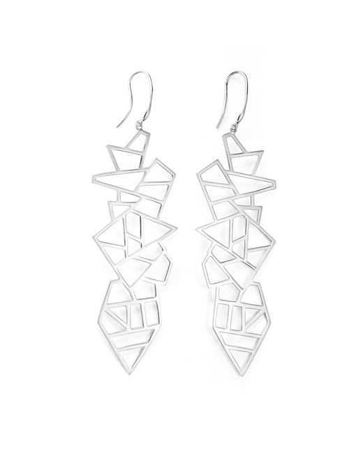 Ona Chan | Metallic Long Multi Lattice Drop Earrings Silver | Lyst
