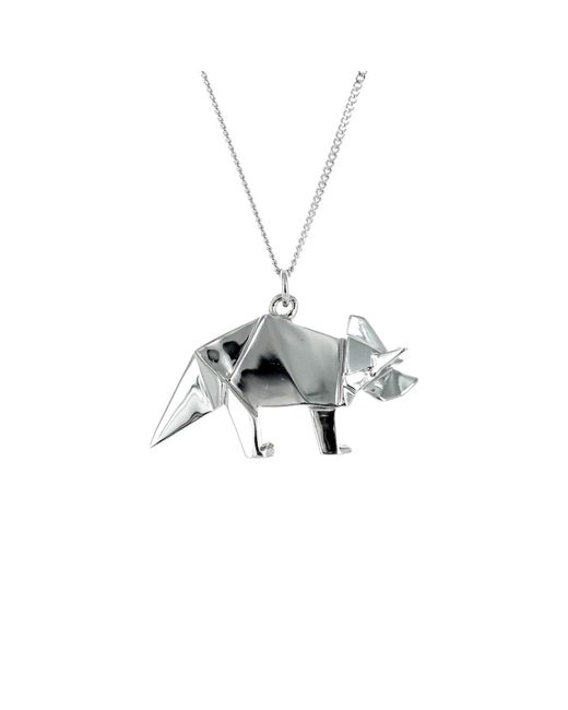 Origami Jewellery - Metallic Triceratop Necklace Silver - Lyst