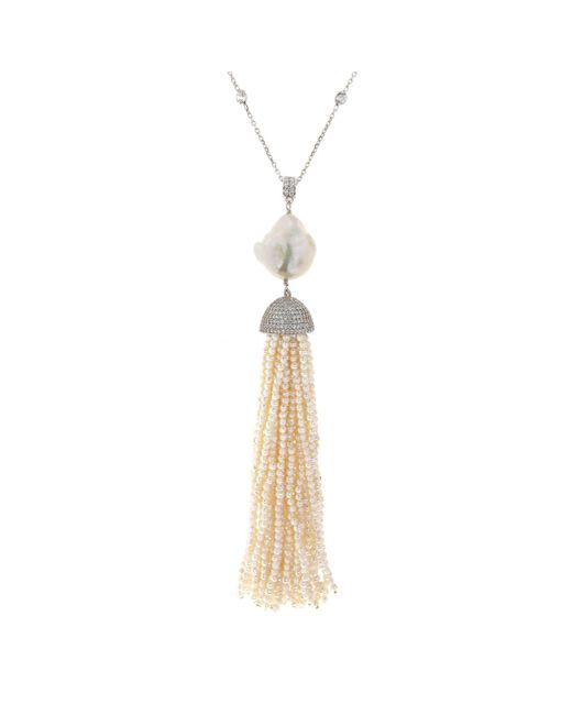 Cosanuova - Metallic Sterling Silver Pearl Baroque Tassel Necklace - Lyst