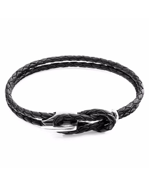 Anchor & Crew - Coal Black Padstow Silver & Leather Bracelet for Men - Lyst