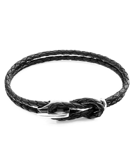 Anchor & Crew - Coal Black Padstow Silver & Braided Leather Bracelet for Men - Lyst