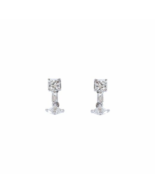 Ri Noor | Metallic Fancy Square Diamond Dangler Earrings | Lyst
