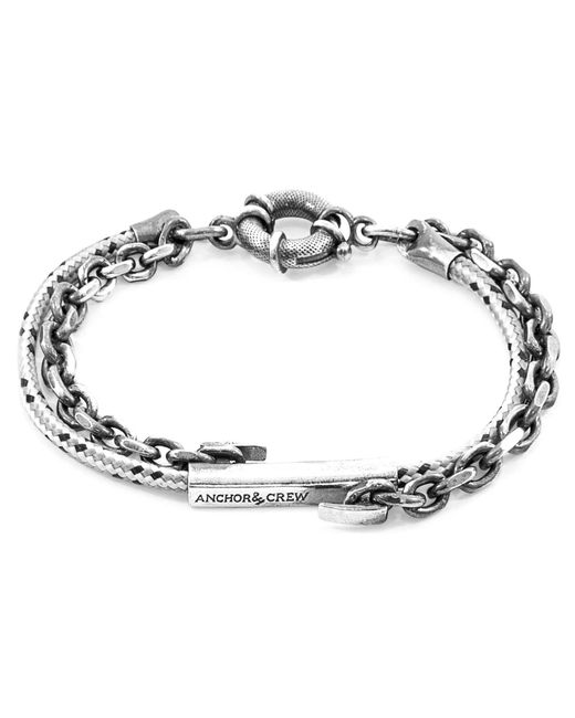 Anchor & Crew - Gray Grey Dash Belfast Silver & Rope Bracelet for Men - Lyst