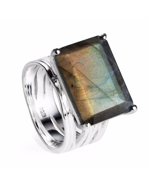 Neola - Metallic Pietra Sterling Silver Cocktail Ring With Labradorite - Lyst