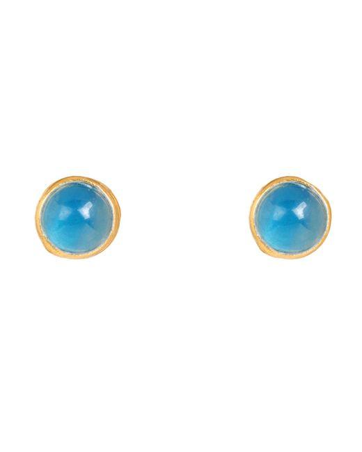 Latelita London - Petite Stud Blue Chalcedony Gold - Lyst