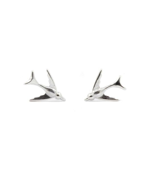Lee Renee - Metallic Tiny Swallow Stud Earrings Silver - Lyst